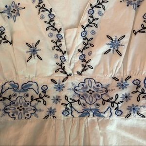 JohnPaulRichard Blue Embroidered Blouse
